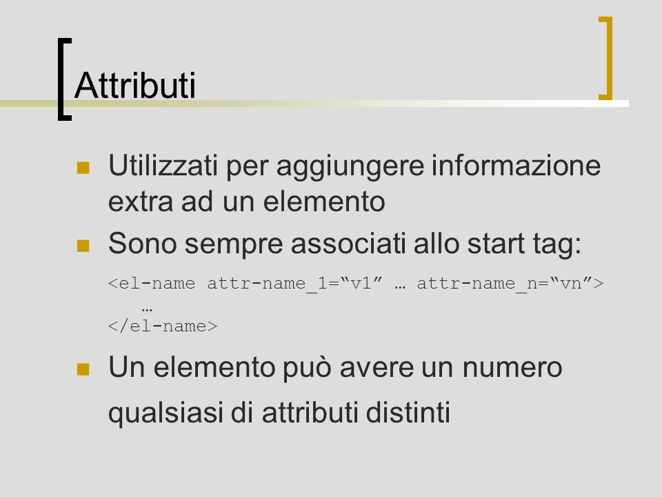 Attributi Utilizzati per aggiungere informazione extra ad un elemento