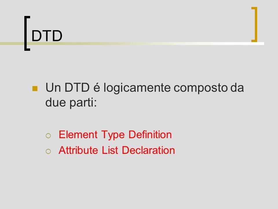 DTD Un DTD é logicamente composto da due parti: