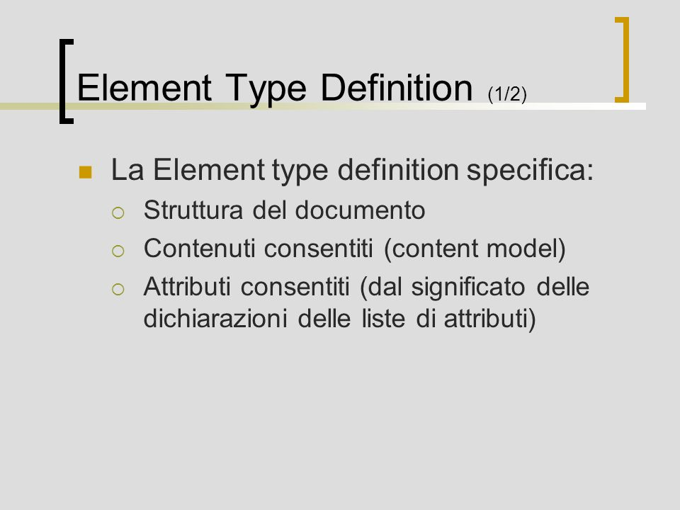 Element Type Definition (1/2)