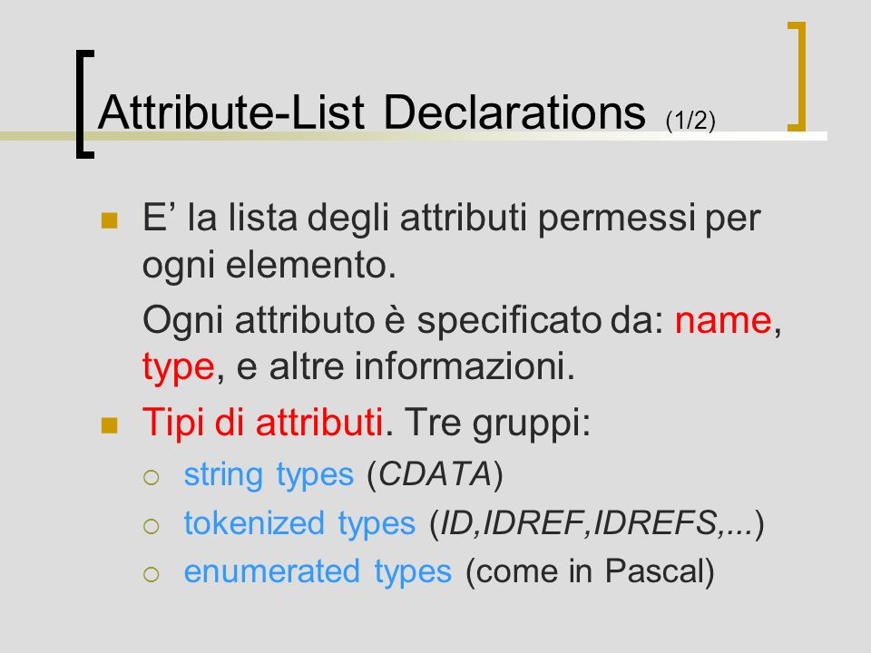 Attribute-List Declarations (1/2)