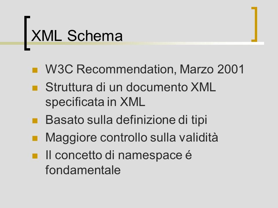 XML Schema W3C Recommendation, Marzo 2001