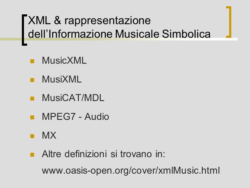 XML & rappresentazione dell'Informazione Musicale Simbolica