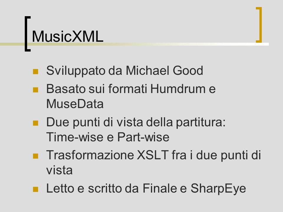 MusicXML Sviluppato da Michael Good
