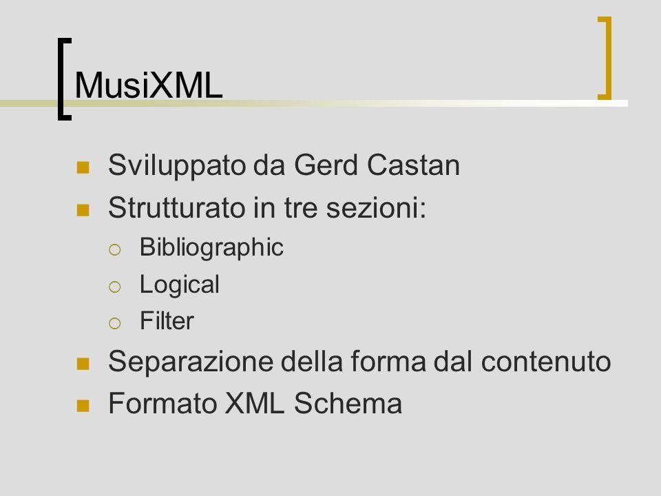 MusiXML Sviluppato da Gerd Castan Strutturato in tre sezioni: