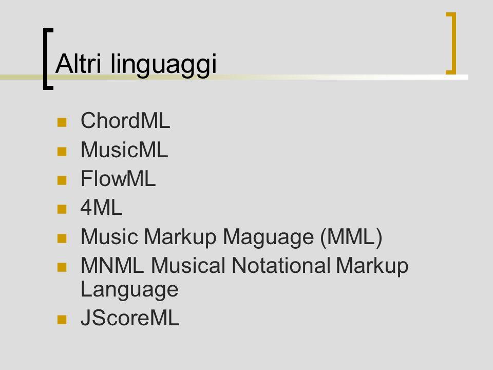 Altri linguaggi ChordML MusicML FlowML 4ML Music Markup Maguage (MML)