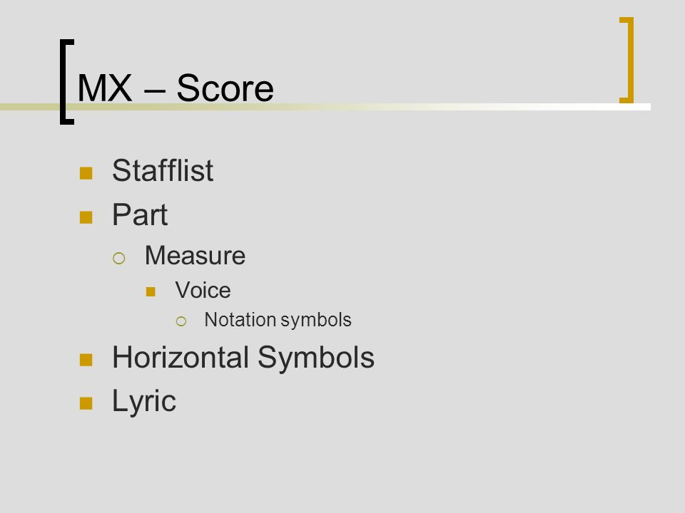 MX – Score Stafflist Part Horizontal Symbols Lyric Measure Voice