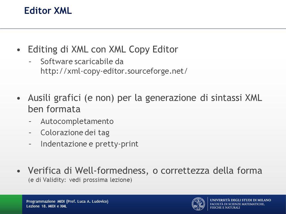 Editing di XML con XML Copy Editor