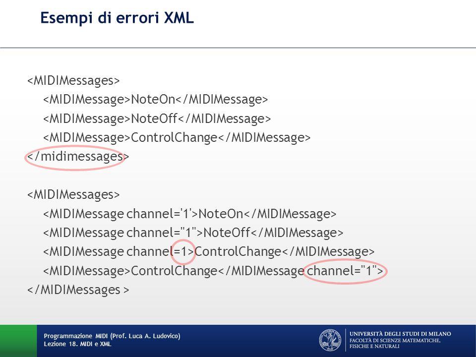 Esempi di errori XML