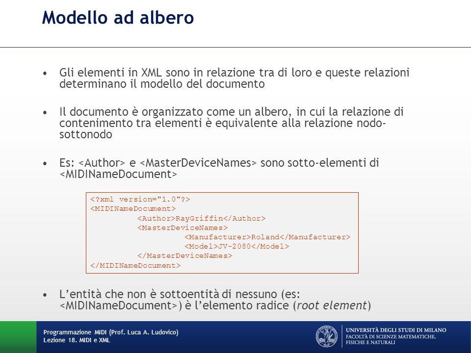 Modello ad albero Gli elementi in XML sono in relazione tra di loro e queste relazioni determinano il modello del documento.