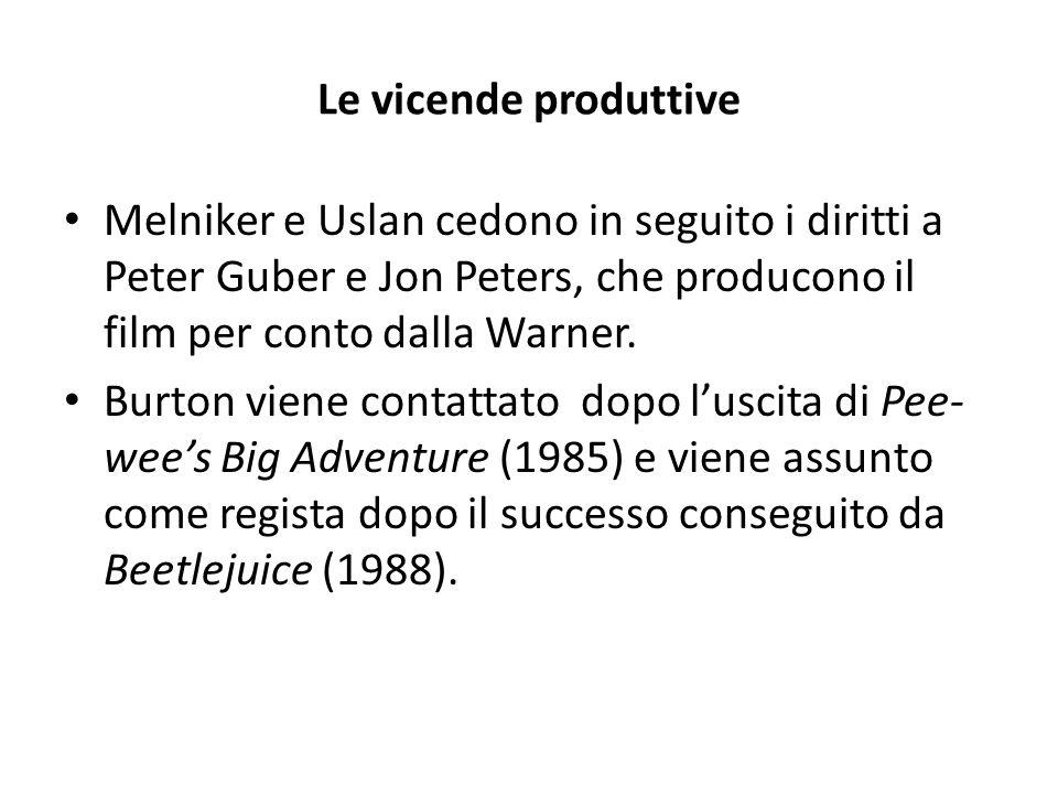 Le vicende produttive Melniker e Uslan cedono in seguito i diritti a Peter Guber e Jon Peters, che producono il film per conto dalla Warner.