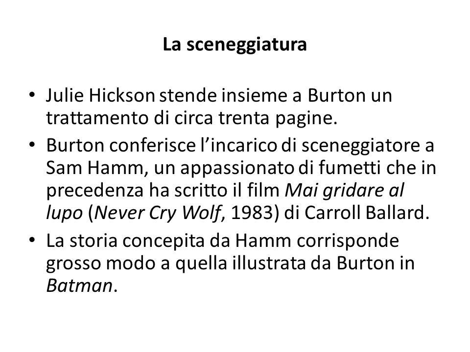 La sceneggiatura Julie Hickson stende insieme a Burton un trattamento di circa trenta pagine.