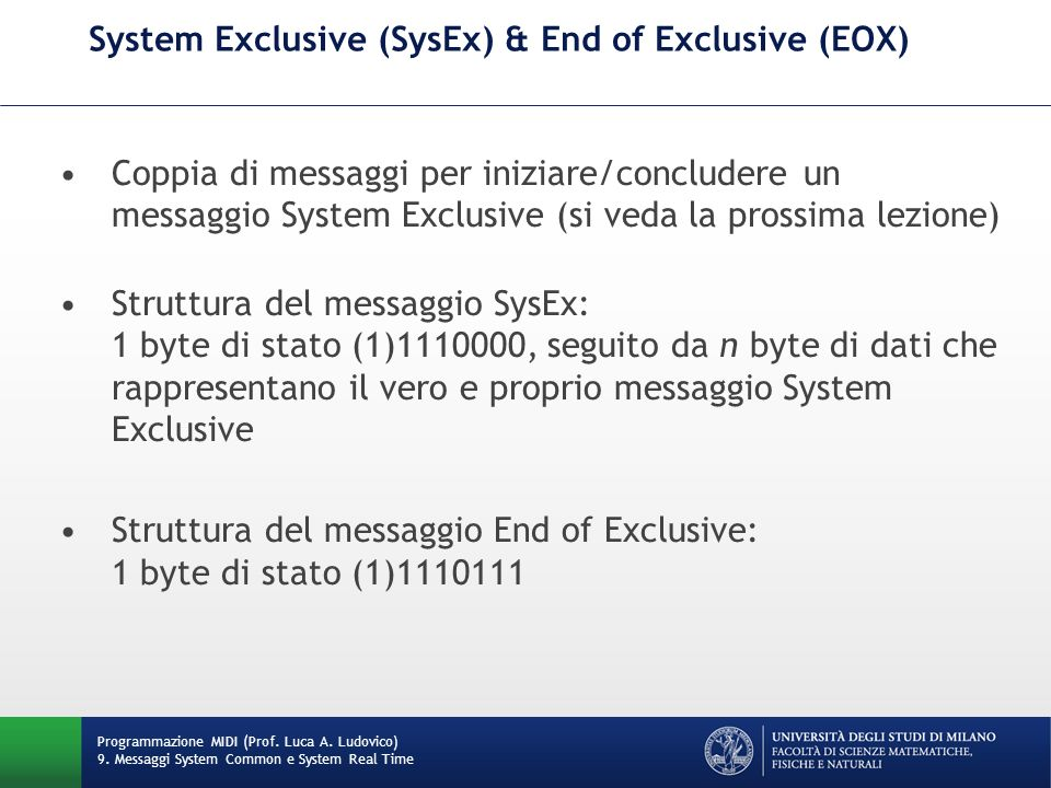 System Exclusive (SysEx) & End of Exclusive (EOX)