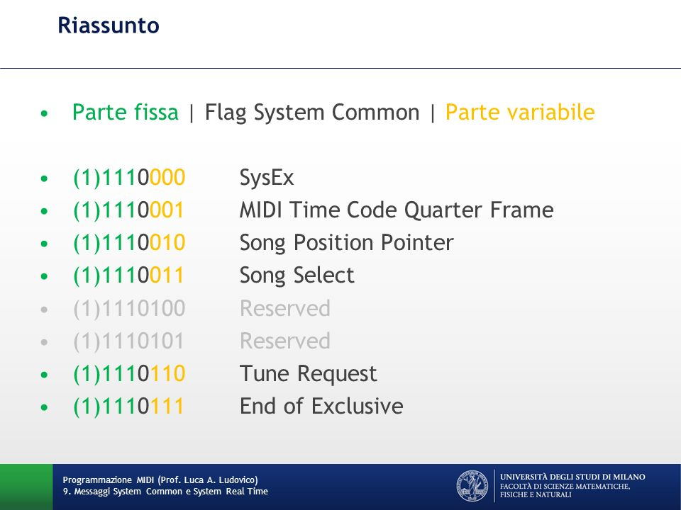Parte fissa | Flag System Common | Parte variabile (1) SysEx