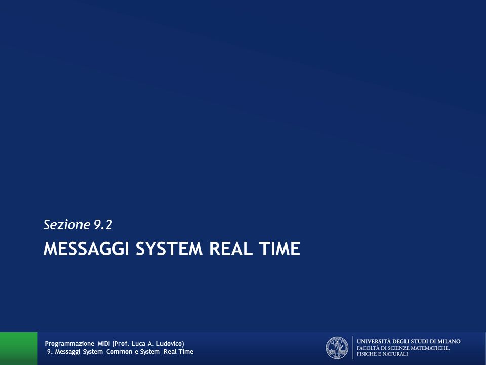 Messaggi SYSTEM REAL TIME
