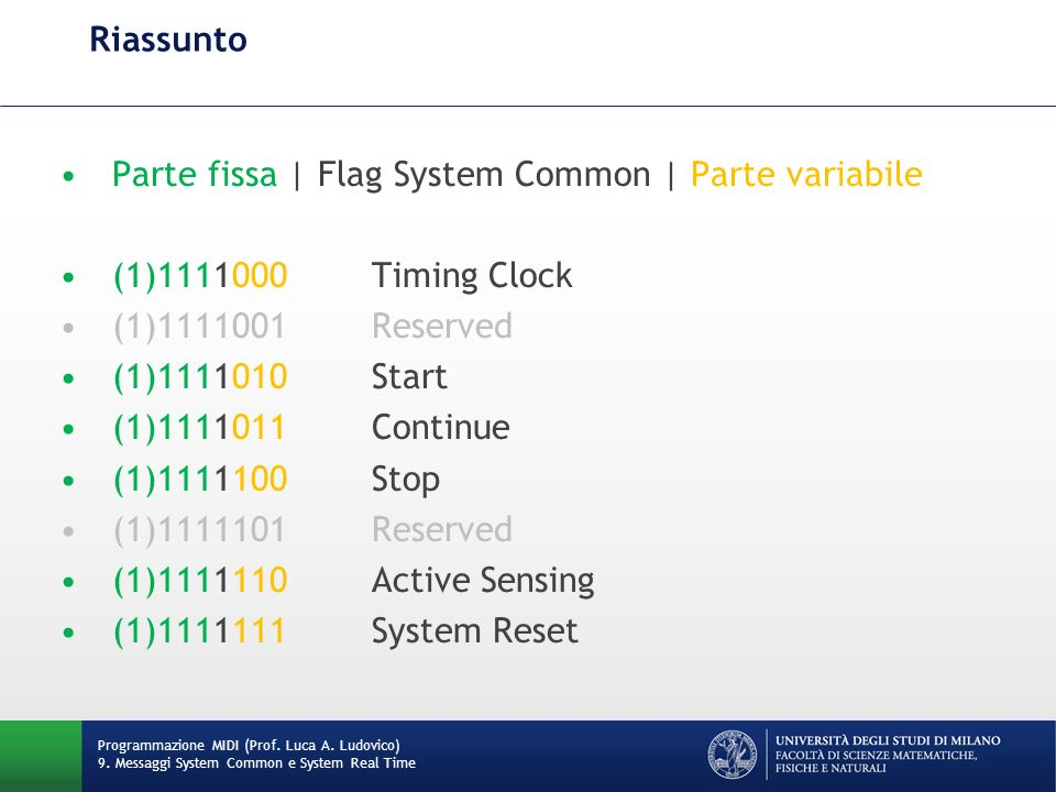 Parte fissa | Flag System Common | Parte variabile