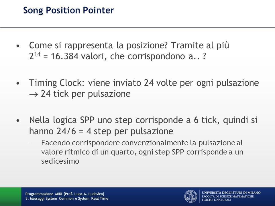 Song Position Pointer Come si rappresenta la posizione Tramite al più 214 = 16.384 valori, che corrispondono a..