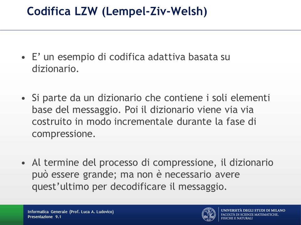 Codifica LZW (Lempel-Ziv-Welsh)