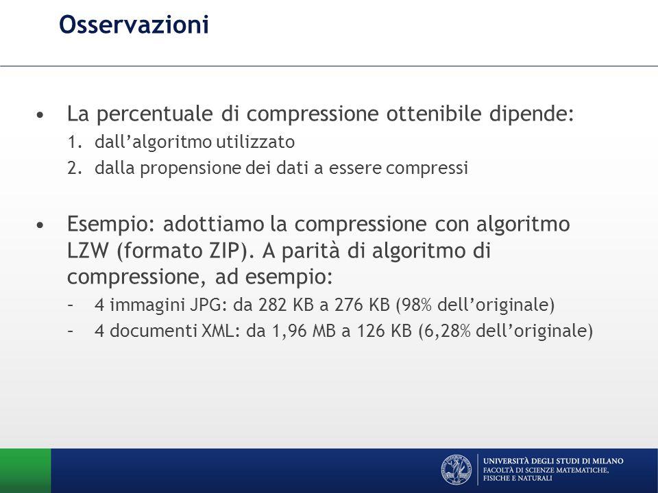 Osservazioni La percentuale di compressione ottenibile dipende: