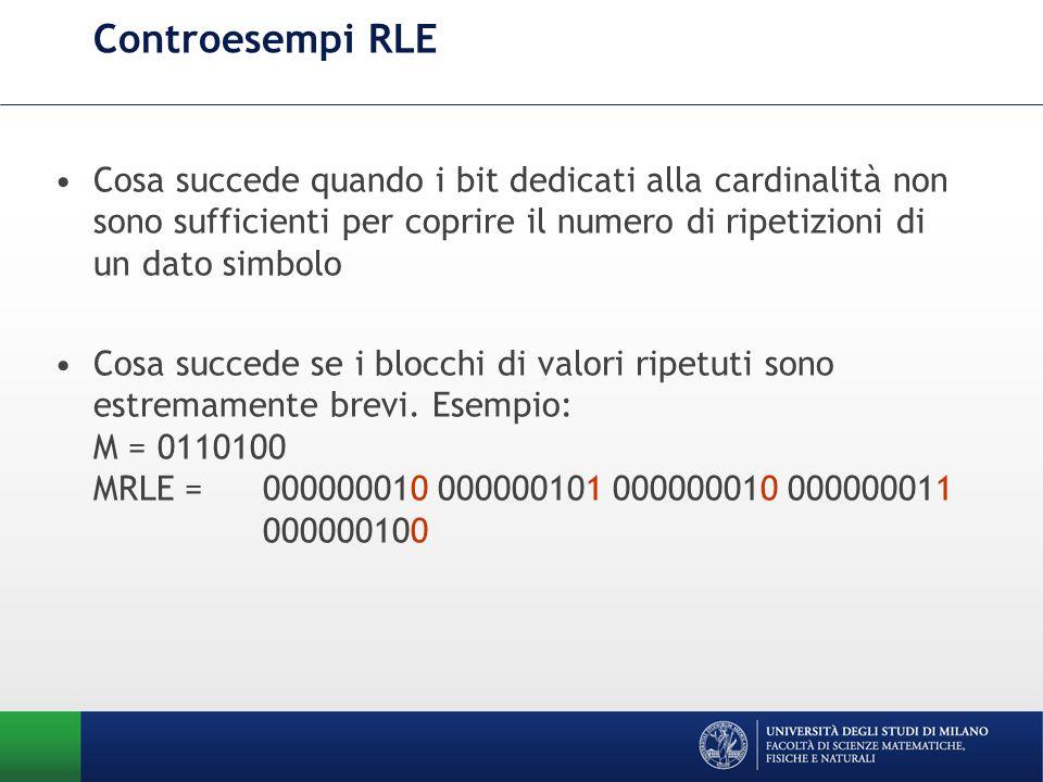 Controesempi RLECosa succede quando i bit dedicati alla cardinalità non sono sufficienti per coprire il numero di ripetizioni di un dato simbolo.