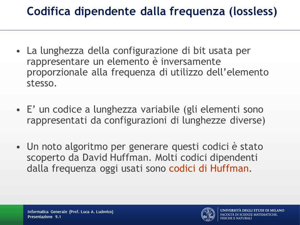 Codifica dipendente dalla frequenza (lossless)