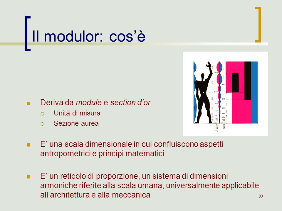 Il modulor: cos'è Deriva da module e section d'or