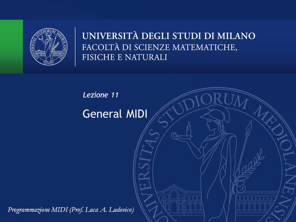 Lezione 11 General MIDI Programmazione MIDI (Prof. Luca A. Ludovico)