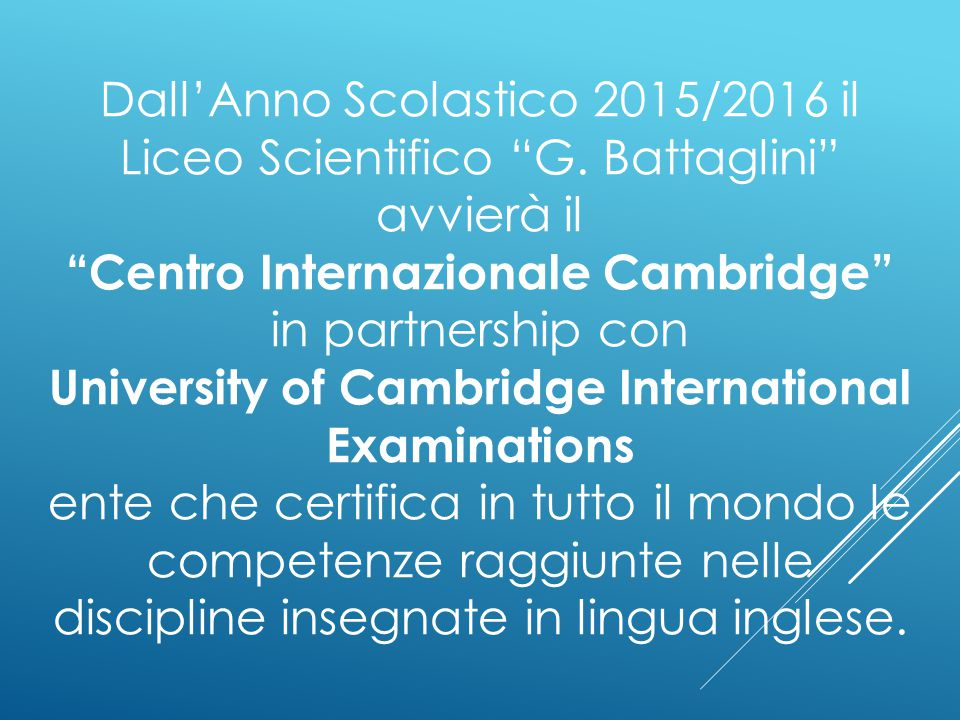 Centro Internazionale Cambridge in partnership con