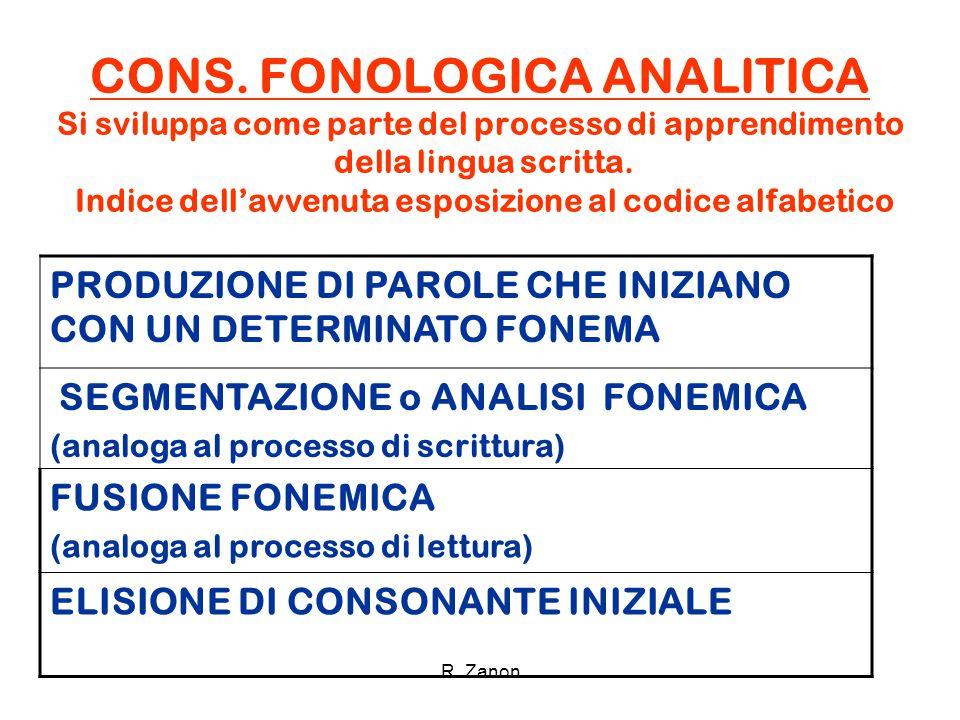 CONS. FONOLOGICA ANALITICA Si sviluppa come parte del processo di apprendimento della lingua scritta. Indice dell'avvenuta esposizione al codice alfabetico