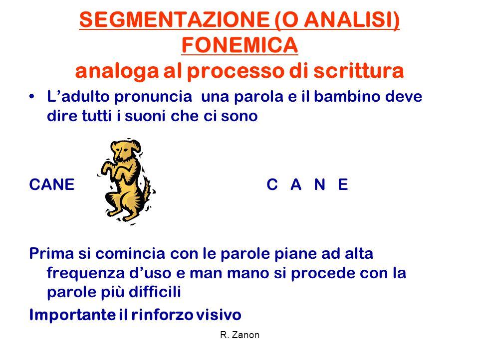 SEGMENTAZIONE (O ANALISI) FONEMICA analoga al processo di scrittura