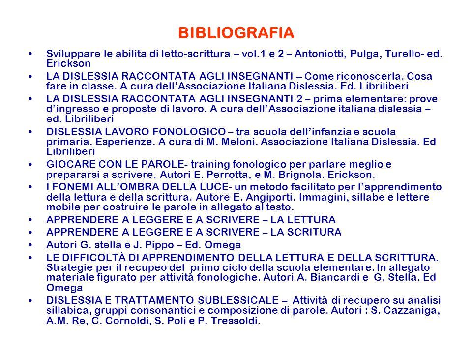 BIBLIOGRAFIA Sviluppare le abilita di letto-scrittura – vol.1 e 2 – Antoniotti, Pulga, Turello- ed. Erickson.
