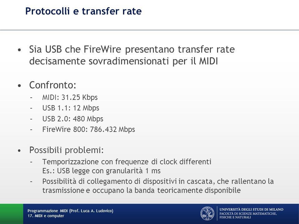 Protocolli e transfer rate