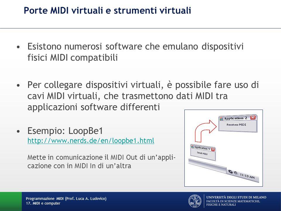 Porte MIDI virtuali e strumenti virtuali