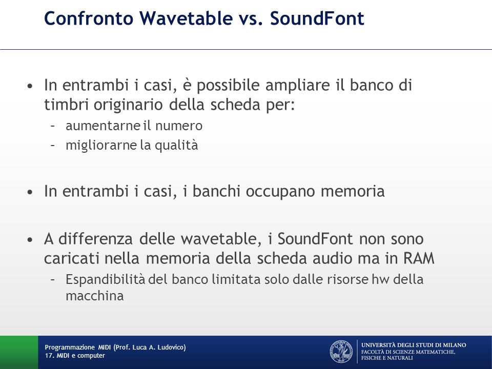 Confronto Wavetable vs. SoundFont