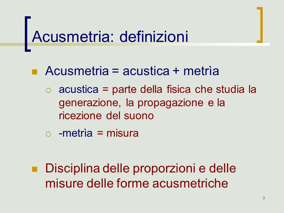 Acusmetria: definizioni
