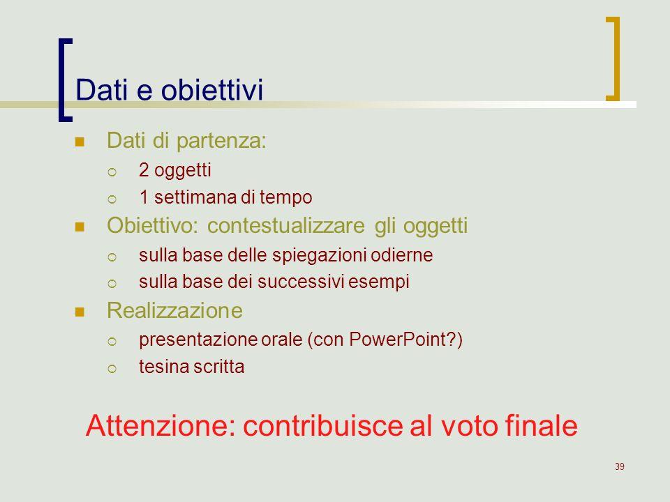 Attenzione: contribuisce al voto finale