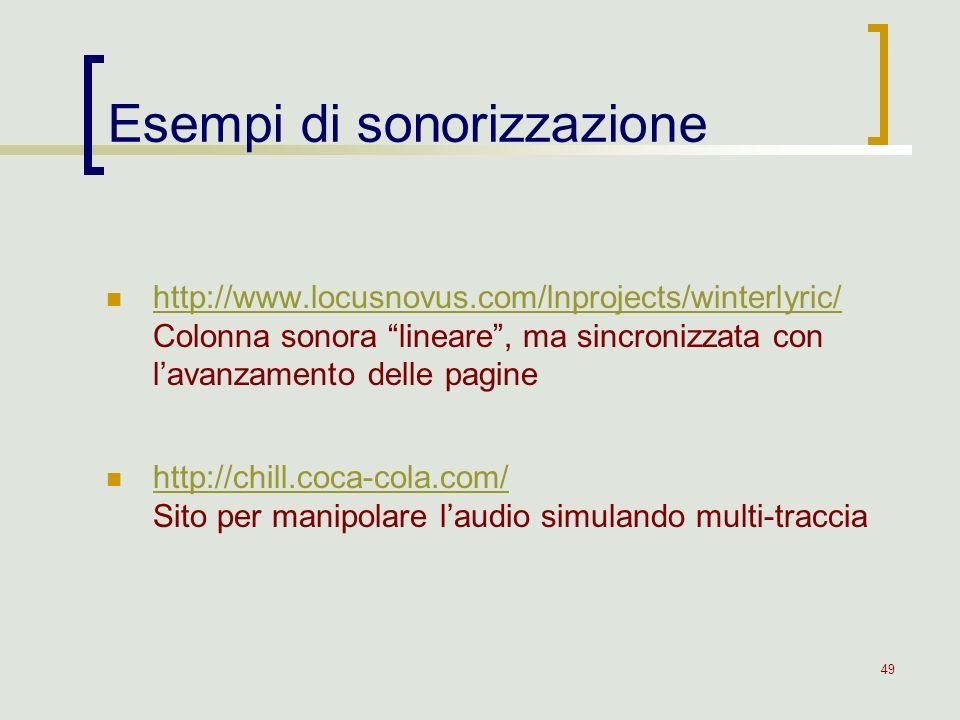 Esempi di sonorizzazione