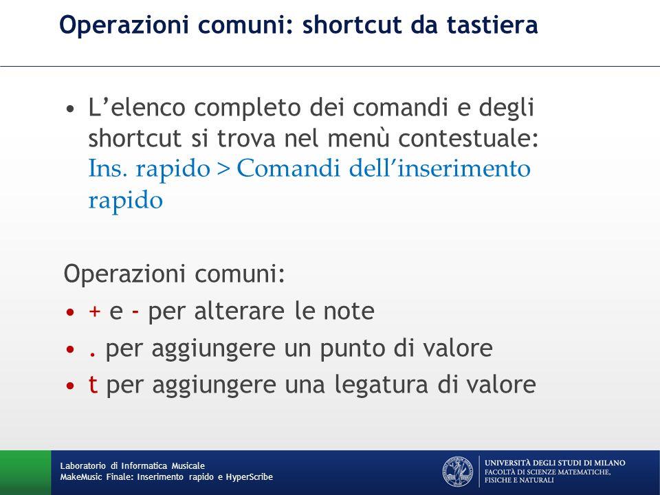 Operazioni comuni: shortcut da tastiera