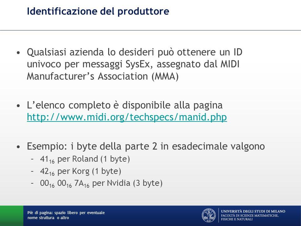 Identificazione del produttore