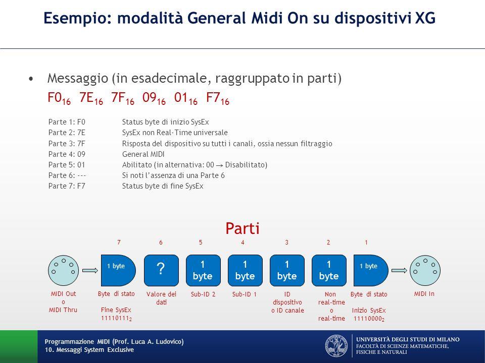 Esempio: modalità General Midi On su dispositivi XG