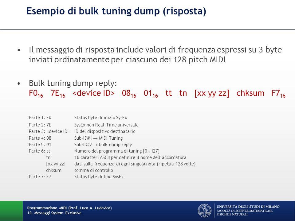 Esempio di bulk tuning dump (risposta)