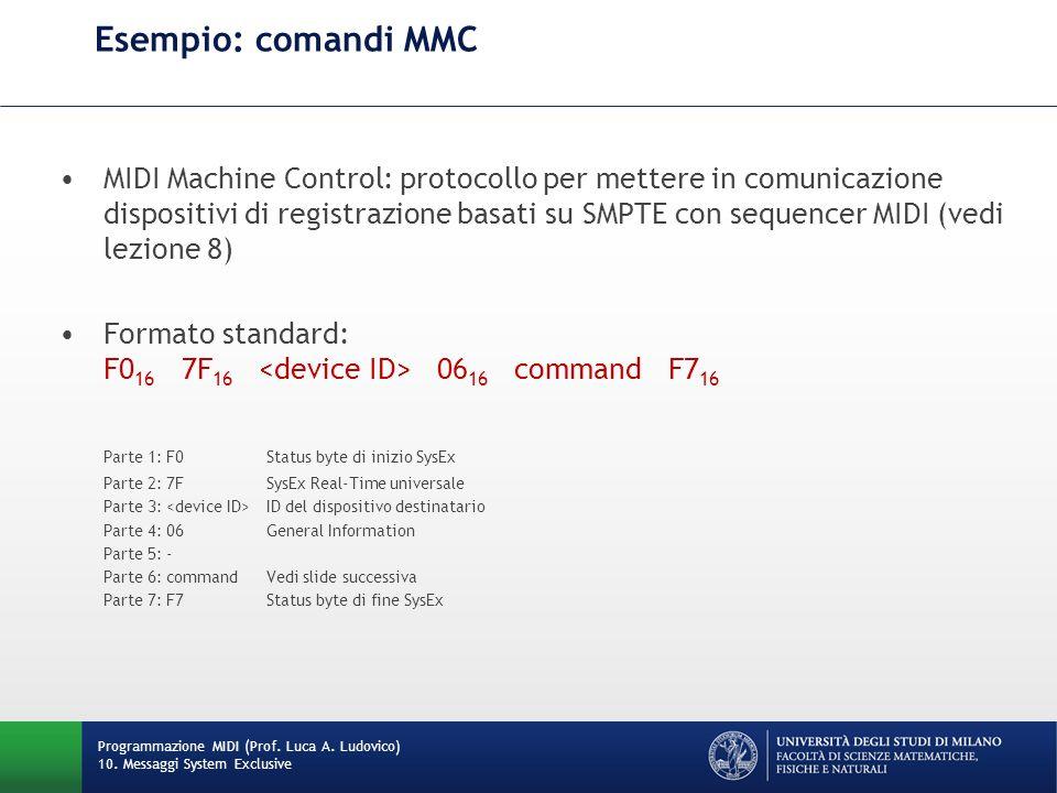 Esempio: comandi MMC