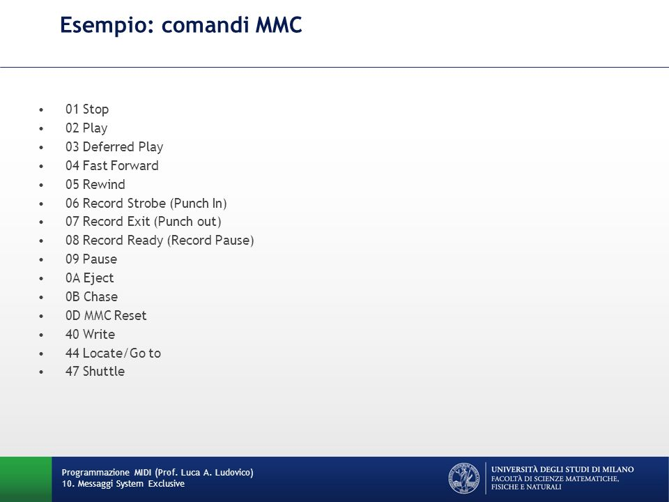 Esempio: comandi MMC 01 Stop 02 Play 03 Deferred Play 04 Fast Forward