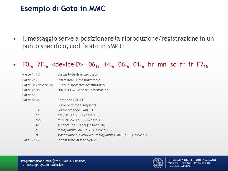 Esempio di Goto in MMC Il messaggio serve a posizionare la riproduzione/registrazione in un punto specifico, codificato in SMPTE.