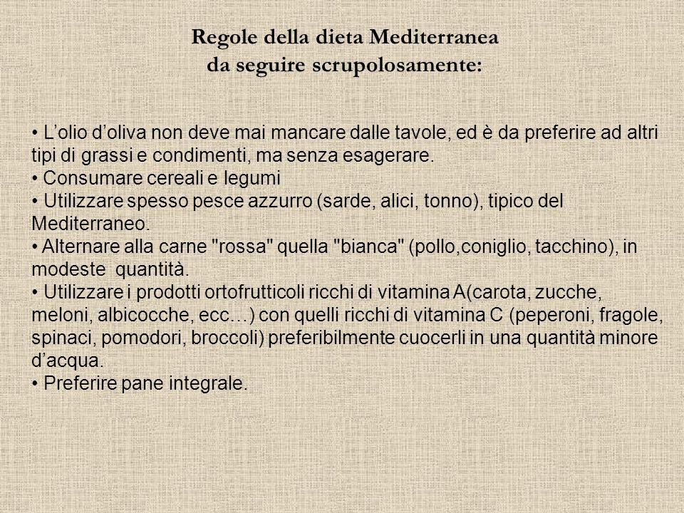 Regole della dieta Mediterranea da seguire scrupolosamente: