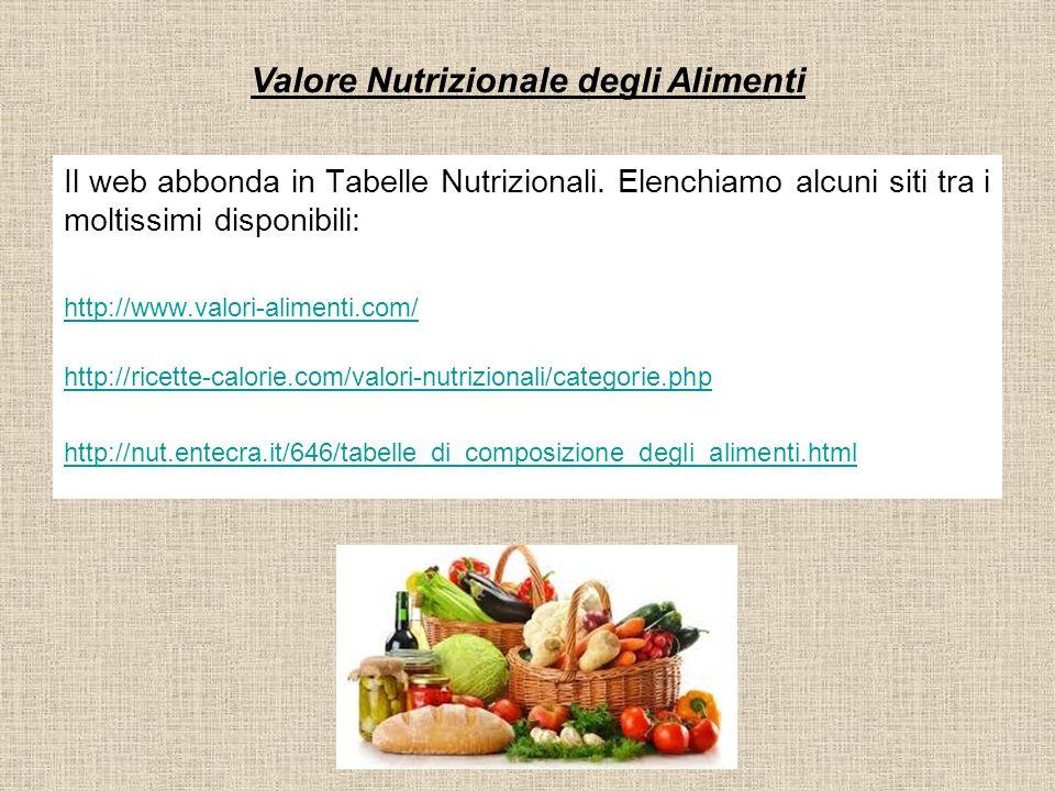 Valore Nutrizionale degli Alimenti