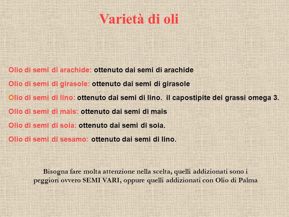 Varietà di oli Olio di semi di arachide: ottenuto dai semi di arachide