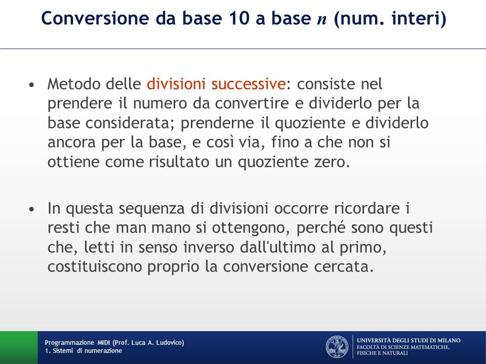 Conversione da base 10 a base n (num. interi)