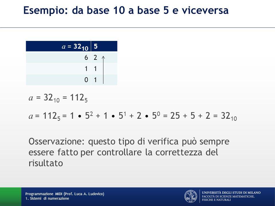 Esempio: da base 10 a base 5 e viceversa