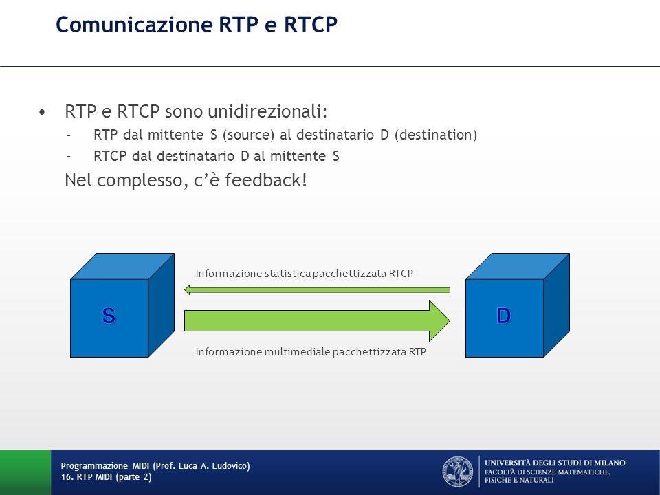 Comunicazione RTP e RTCP