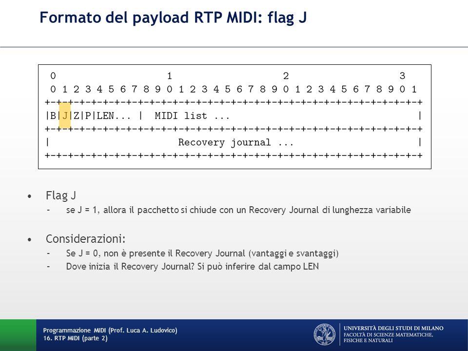 Formato del payload RTP MIDI: flag J